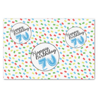70th Birthday Tissue Paper Festive Colorful