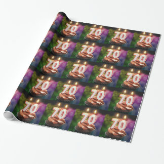 70th birthday with candles wrapping paper