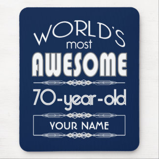 70th Birthday Worlds Best Fabulous Dark Blue Mouse Pads