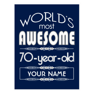 70th Birthday Worlds Best Fabulous Dark Blue Post Card