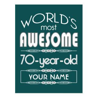 70th Birthday Worlds Best Fabulous Dark Green Post Cards