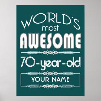 70th Birthday Worlds Best Fabulous Dark Green Poster