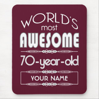 70th Birthday Worlds Best Fabulous Dark Red Mousepads