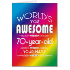 70th Birthday Worlds Best Fabulous Rainbow Card