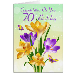 70th Birthday Yellow And Purple Crocus Card
