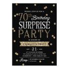 70th Glitter Confetti Surprise Party Invitation