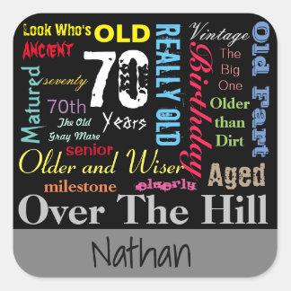 70th Happy Birthday | Milestone - Subway Art Square Sticker