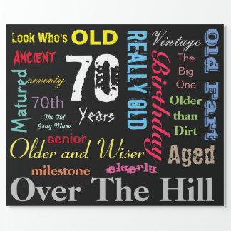 70th Happy Birthday Subway Art | Milestone Wrapping Paper