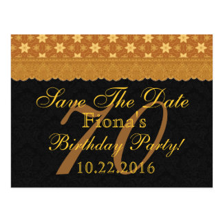 70th Save the Date Birthday Gold Black Lace Postcard