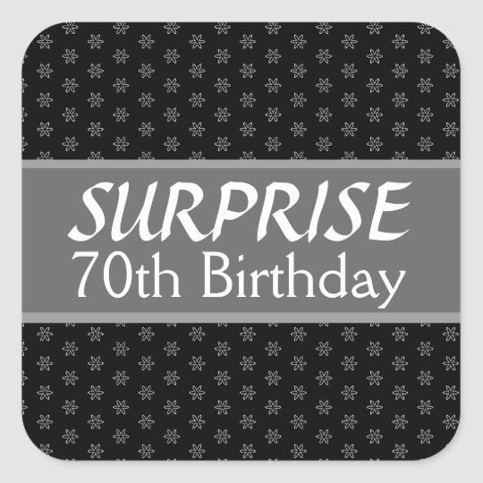 70th SURPRISE Birthday Black Silver Red Square Sticker
