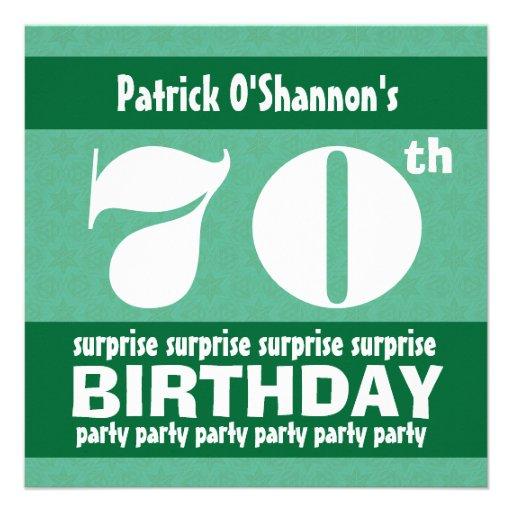 70th SURPRISE  Birthday Party Pink Stars B418 Invitations