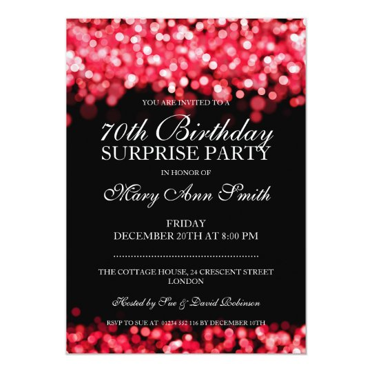 70th Surprise Birthday Party Red Lights Card