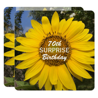 70th Surprise Birthday Party Sunflower Invitation
