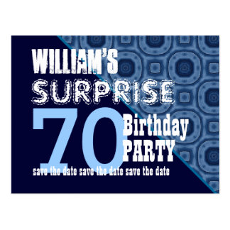 70th Surprise Birthday Save the Date Diagonal VB19 Postcard