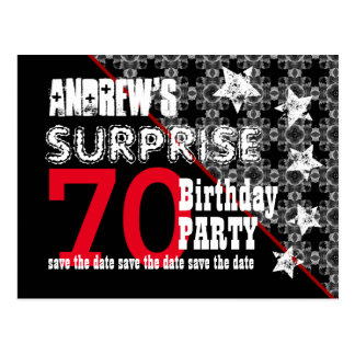 70th Surprise Birthday Save the Date Diagonal W71 Postcard