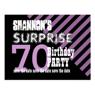 70th Surprise Birthday Save the Date Stripes S05Z Postcard
