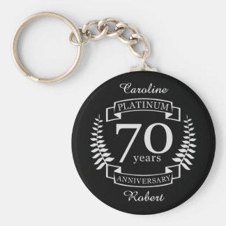 70th Wedding ANNIVERSARY PLATINUM Keychain
