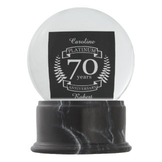 70th Wedding ANNIVERSARY PLATINUM Snow Globe