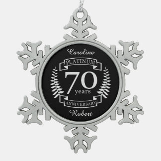 70th Wedding ANNIVERSARY PLATINUM Snowflake Pewter Christmas Ornament
