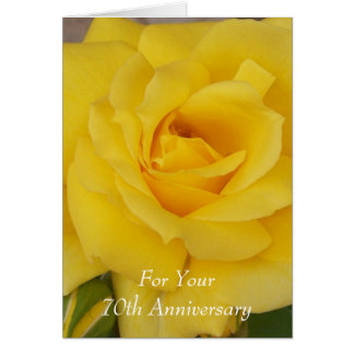 70th Wedding Anniversary Yellow Rose Card