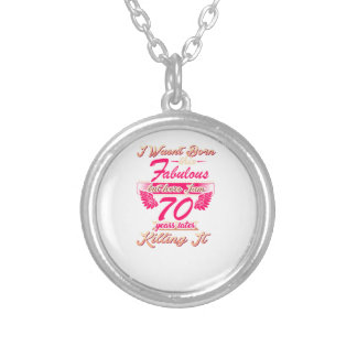 70th year birthday gift party tee shirt silver plated necklace