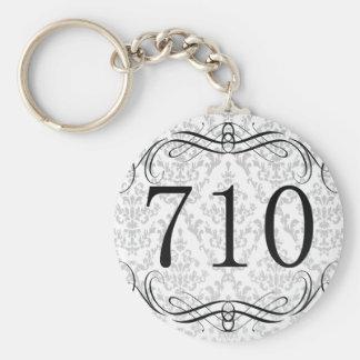 710 Area Code Basic Round Button Keychain