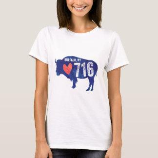 716 Heart Buffalo NY New York Silhouette Blue Red T-Shirt