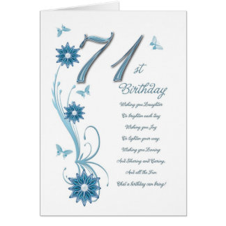 71st birthday in teal with flowers and butterfly card