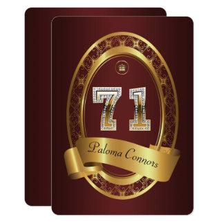 71st,birthday party woman man,elegant color card