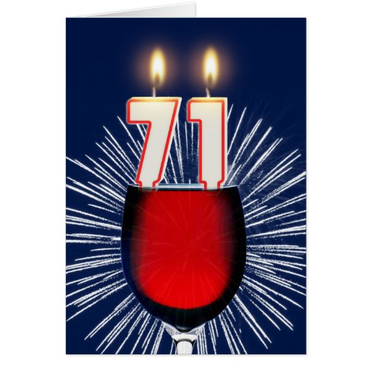 71st Birthday with wine and candles Card