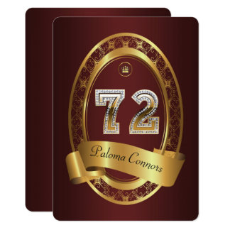 72nd,birthday party woman man,elegant color card