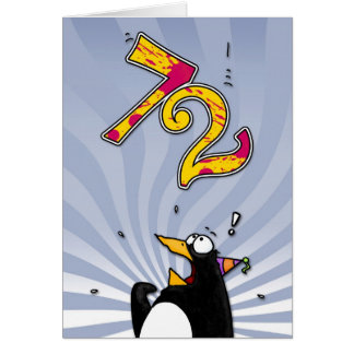 72nd Birthday - Penguin Surprise Card