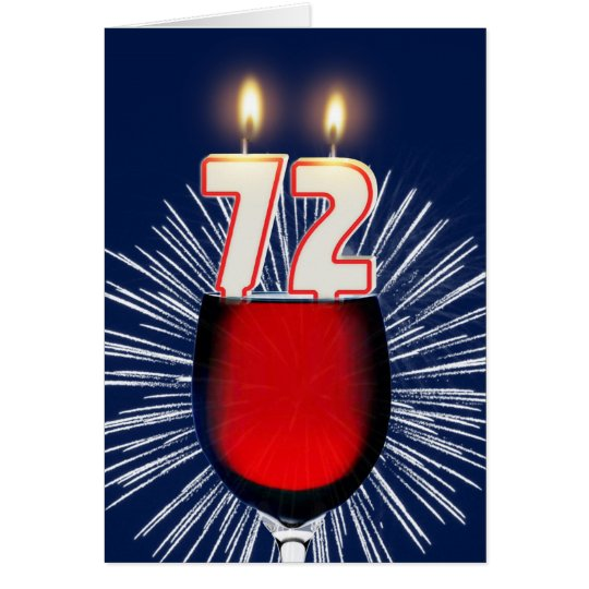 72nd Birthday with wine and candles Card