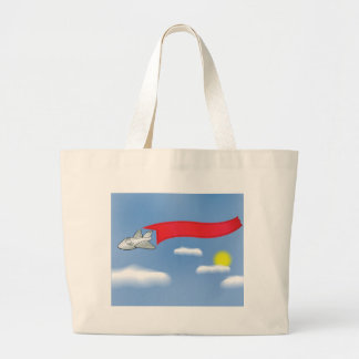 73Plane Banner_rasterized Large Tote Bag