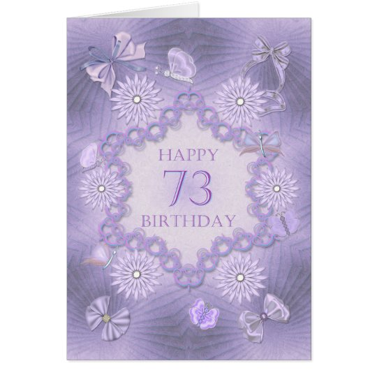 73rd birthday card with lavender flowers