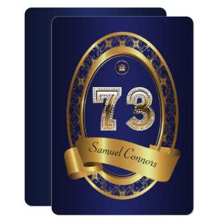 73rd,birthday party woman man,elegant color card