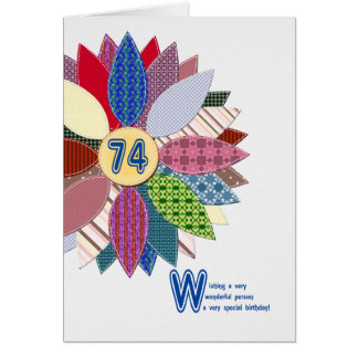 74 years old, stitched flower birthday card
