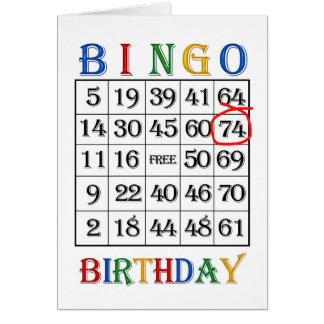 74th Birthday Bingo card
