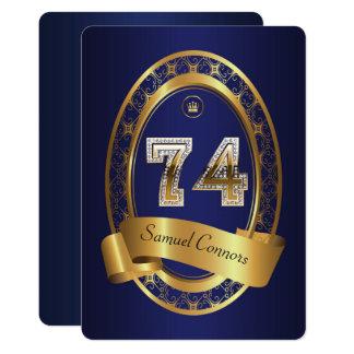 74th,birthday party woman man,elegant color card