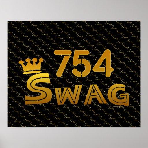 754 Area Code Swag Print