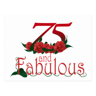 75  and fabulous 75th birthday number postcard