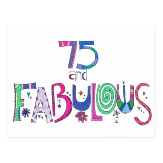 75 and fabulous 75th birthday postcard
