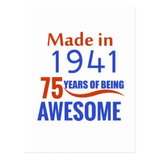 75 birthday design postcard