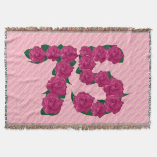 75 cute pink rose flowers 75th birthday blanket throw blanket