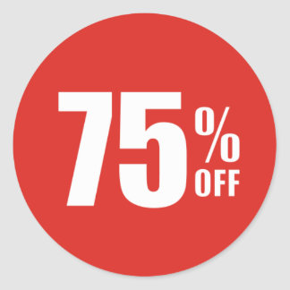 75% Seventy Five Percent OFF Discount Sale Sticker