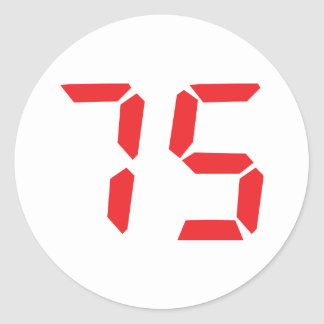 75 seventy-five red alarm clock digital number classic round sticker