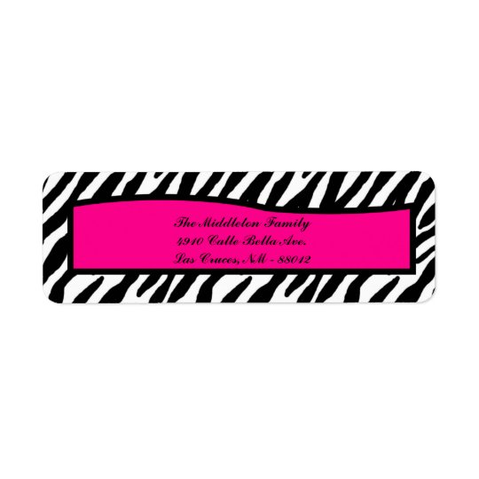 ".75""x2.25"" Hot Pink Zebra Return Address Label"