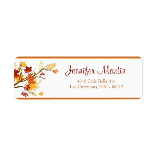 ".75""x2.25"" Return Address Autumn Branch Leaves"