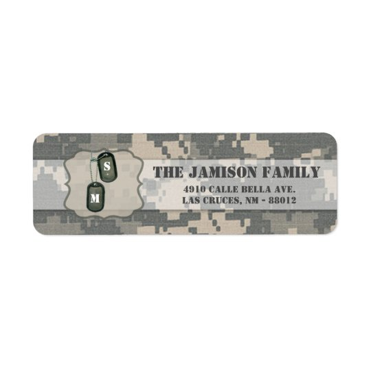 ".75""x2.25"" Return Address Label ARMY ACU Uniform"