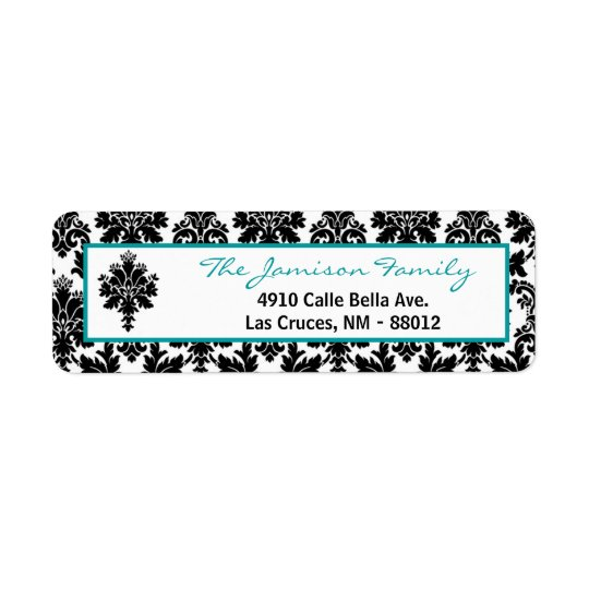 ".75""x2.25"" Return Address Label Black Teal Damask"